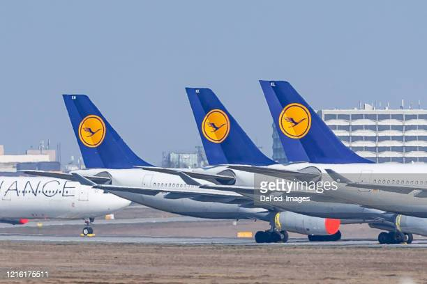 Tailplane with Lufthansa logo of Lufthansa aircraft parked at Frankfurt Airport due to the COVID-19 corona virus on March 27, 2020 in Frankfurt am...