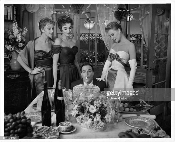 Taina Elg Kay Kendall Gene Kelly and Mitzi Gaynor in a scene from the film 'Les Girls' 1957