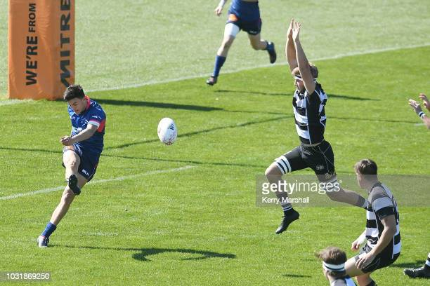Taine Robinson of Tasman kicks during the Jock Hobbs Memorial National U19 Tournament on September 12 2018 in Taupo New Zealand
