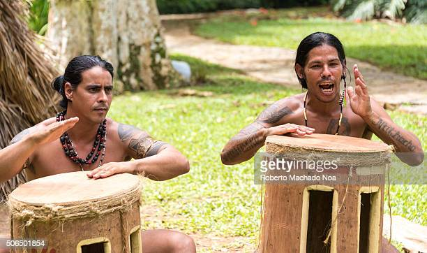 Taino Arawak Cuban indians cultur recreation scene outside the tourist landmark The Taíno were an Arawak people who were the indigenous people of the...