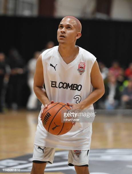 Tainy of Team El Combo shoots a free throw during Roc Nation's Roc da Court allstar basketball game benefiting the Boys Girls Clubs of Southern...