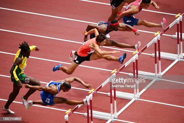 Taio Kanai of Team Japan competes in the Men's 110m Hurdles Semi-Final on day twelve of the Tokyo 2020 Olympic Games at Olympic Stadium on August 04,...