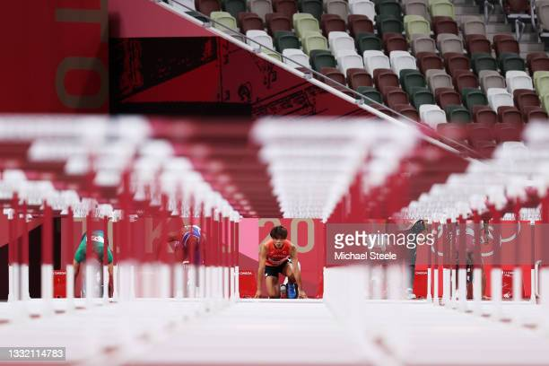 Taio Kanai of Team Japan looks on as he prepares to compete in round one of the Men's 110m Hurdles heats on day eleven of the Tokyo 2020 Olympic...