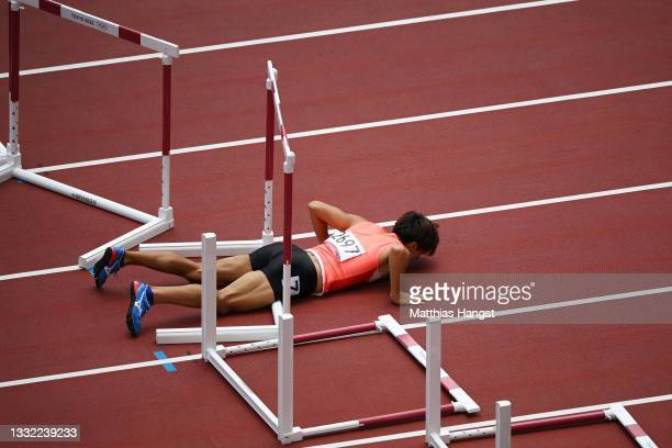 Taio Kanai of Team Japan trips in the Men's 110m Hurdles Semi-Final on day twelve of the Tokyo 2020 Olympic Games at Olympic Stadium on August 04,...