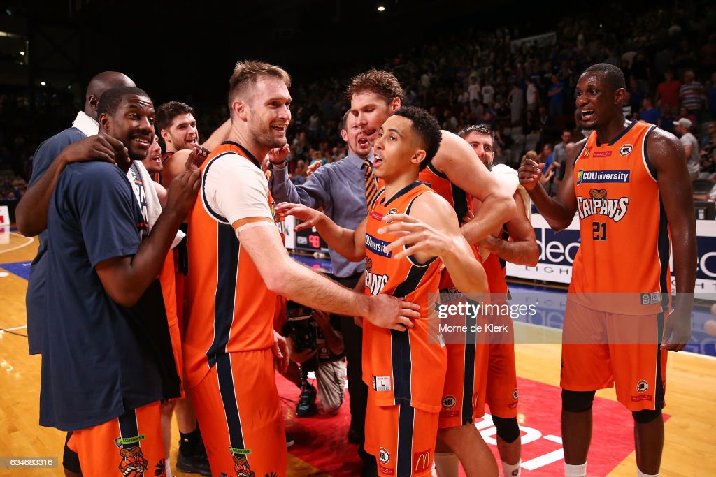 Taipans players celebrate after the round 19 NBL match between the Adelaide 36ers and the Cairns Taipans at Titanium Security Arena on February 11, 2017 in Adelaide, Australia.