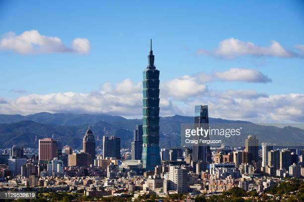 Taipei 101 and the nearby Nanshan Plaza dominate Taipei's skyline when viewed from the south of the city