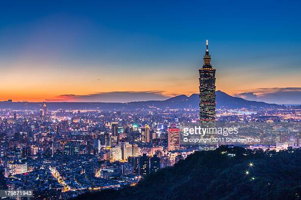 taipei 101 with sunsetglow - taipei stock pictures, royalty-free photos & images