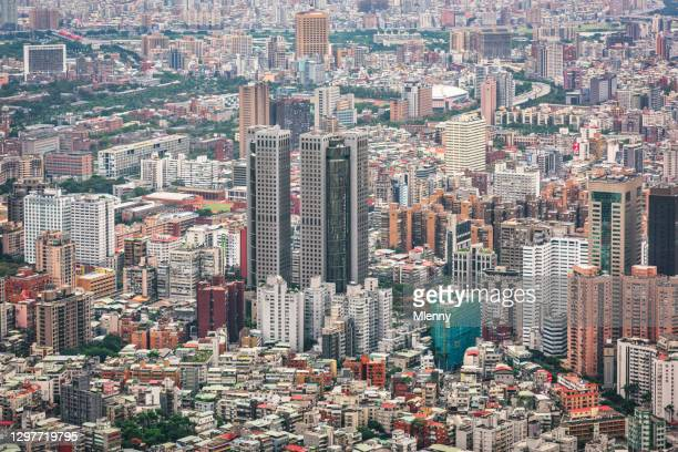 taipei city downtown urban cityscape xinyi district taiwan - mlenny stock pictures, royalty-free photos & images