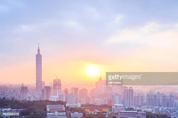 Taipei city during sunset