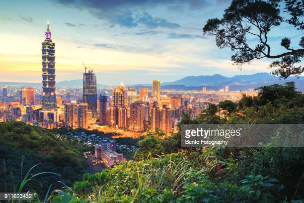 taipei city in sunset - taipei stock pictures, royalty-free photos & images