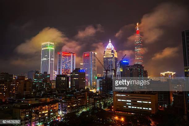 Taipei City Skyline at Night at Songshan Cultural and Creative Park (松山文化創意園區) Area in Taipei (台北) Taiwan (台湾)