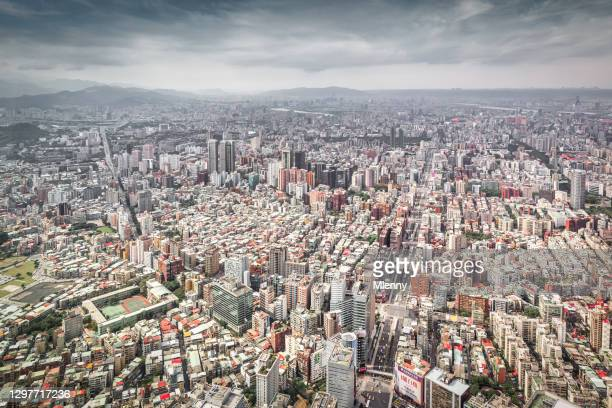 taipei city taiwan urban sprawl city view taiwan - mlenny stock pictures, royalty-free photos & images