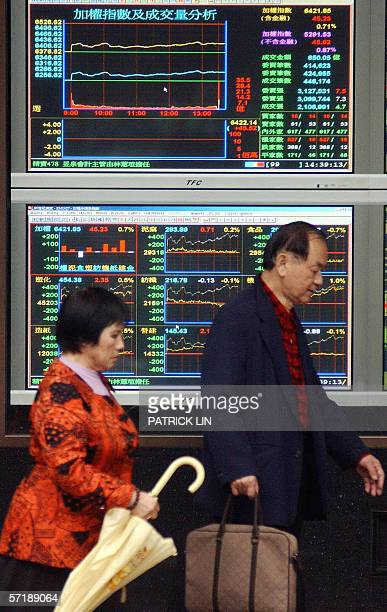 Investors walk past electronic monitors showing graph of stock index in Taipei 27 March 2006 The weighted index of Taipei rose 071 percent to 642185...