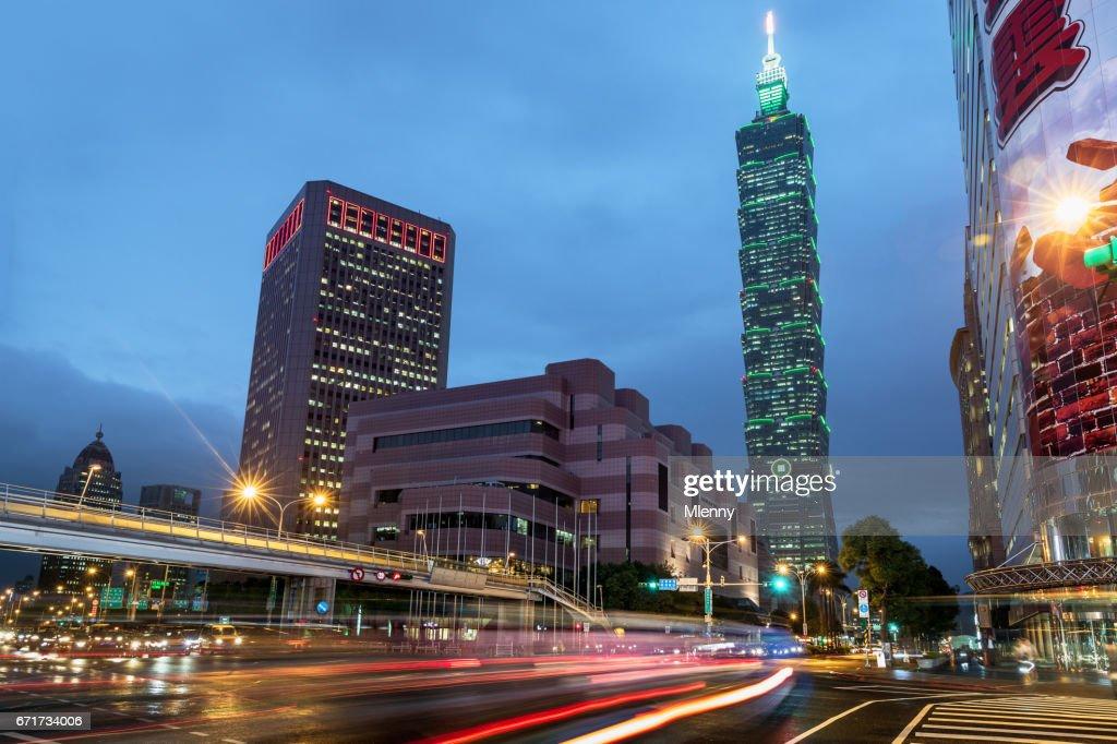 Taipei Taiwan Rainy Day Traffic Light Trails : Stock Photo