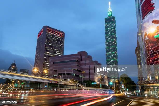 Taipei Taiwan Rainy Day Traffic Light Trails
