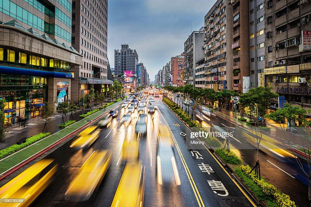 Taipei Taxis, City Traffic Taiwan : Stock Photo