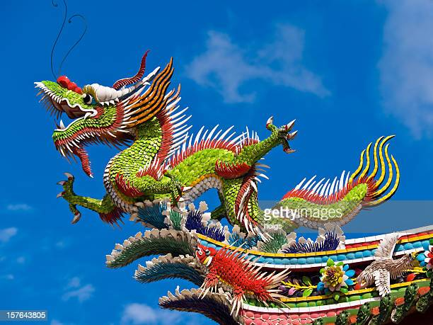 taipei temple, taiwan - chinese dragon stock photos and pictures