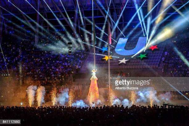 Taipei Universiade 2017 At the grand finale of the closing ceremony of the Universiade summer games in Taipei artists and singers perform in front of...
