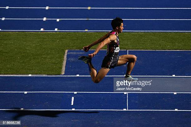 Taira Omata of Japan competes in the mens triple jump during the Australian Athletics Championships at Sydney Olympic Park on April 2 2016 in Sydney...