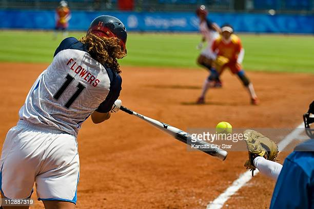 Tairia Flowers of the United States connects on a pitch in a 90 victory over China on Monday August 18 in the games of the XXIX Olympiad in Beijing...