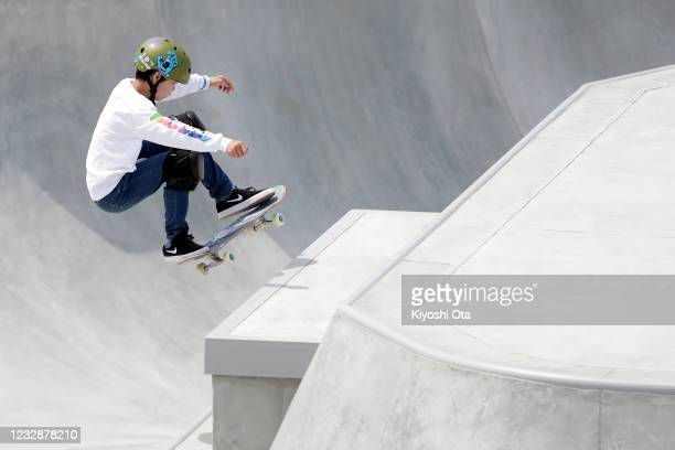 Taisei Kikuchi competes in the Men's Park event during the Skateboarding Olympic Test Event at the Ariake Urban Sports Park on May 14, 2021 in Tokyo,...
