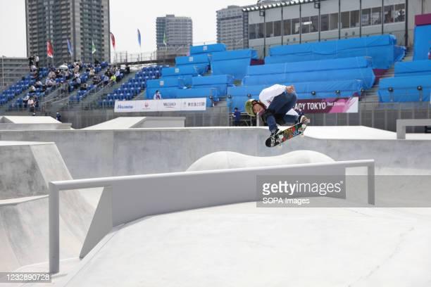 Taisei Kikuchi performs his routine during the READY STEADY TOKYO Skateboarding Test Event at Ariake Urban Sports Park in course of the preparations...
