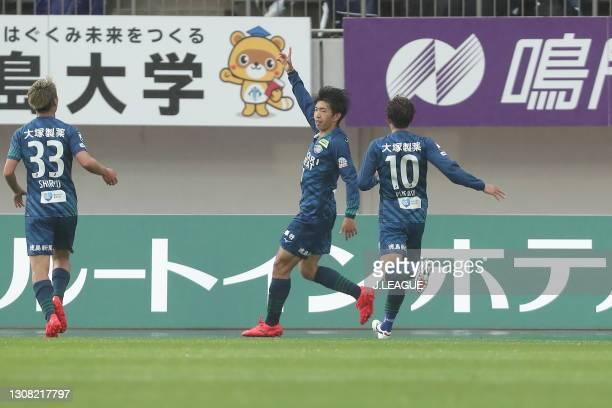 Taisei MIYASHIRO of Tokushima Vortis celebrates scoring his side's second goal during the J.League Meiji Yasuda J1 match between Tokushima Vortis and...