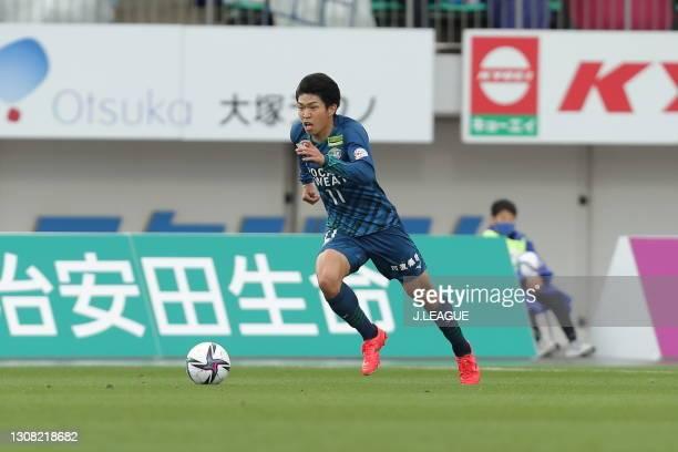 Taisei MIYASHIRO of Tokushima Vortis in action during the J.League Meiji Yasuda J1 match between Tokushima Vortis and Yokohama FC at Pocari Sweat...