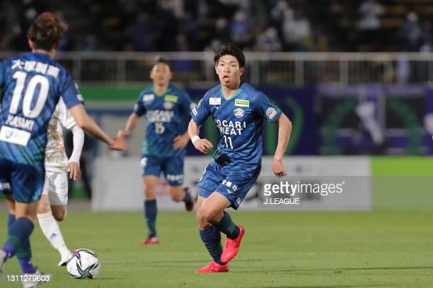 Taisei MIYASHIRO of Tokushima Vortis in action during the J.League Meiji Yasuda J1 match between Tokushima Vortis and Vegalta Sendai at Pocari Sweat...