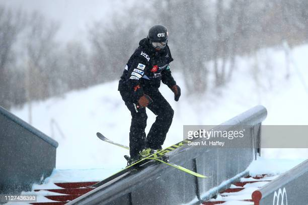 Taisei Yamamoto of Japan during a training run for the Men's Ski Slopestyle competition at the FIS Freestyle Ski World Championships on February 04...