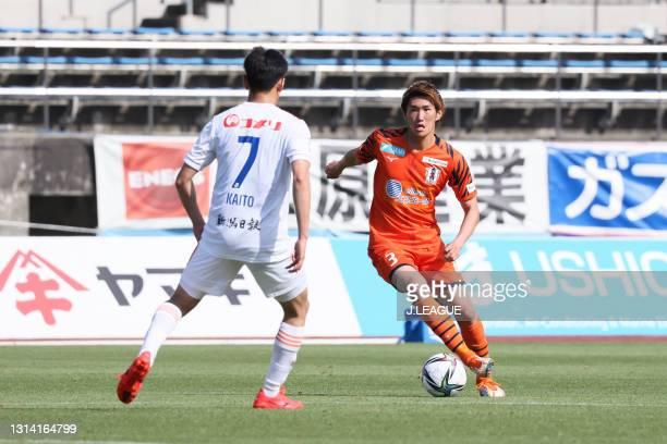 Taishi NISHIOKA of Ehime FC in action during the J.League Meiji Yasuda J2 match between Ehime FC and Albirex Niigata at Ningineer Stadium on April...