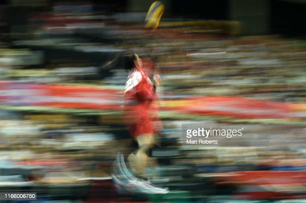 Taishi Onodera of Japan serves during the Men's Volleyball international game between Japan and Canada at Aoyama Gakuin University Gymnasium on...