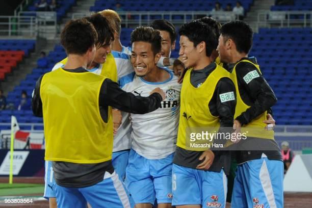 Taishi Taguchi of Jubilo Iwata celebrates the third goal during the J.League J1 match between Yokohama F.Marinos and Jubilo Iwata at Nissan Stadium...