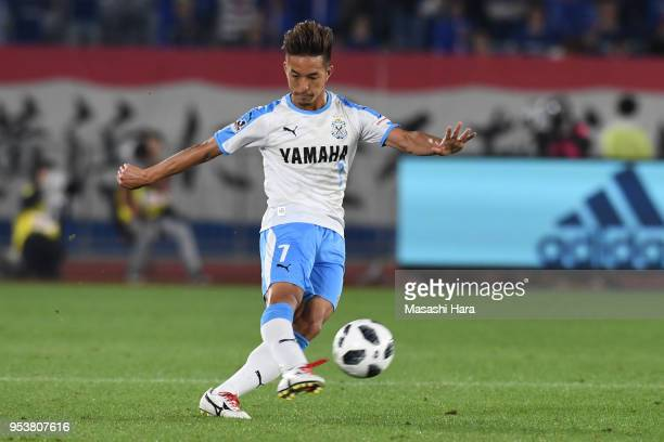 Taishi Taguchi of Jubilo Iwata in action during the J.League J1 match between Yokohama F.Marinos and Jubilo Iwata at Nissan Stadium on May 2, 2018 in...