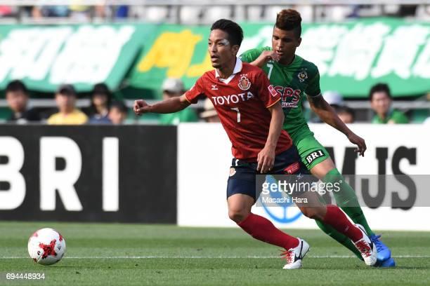 Taishi Taguchi of Nagoya Grampus in action during the J.League J2 match between Tokyo Verdy and Nagoya Grampus at Ajinomoto Stadium on June 10, 2017...