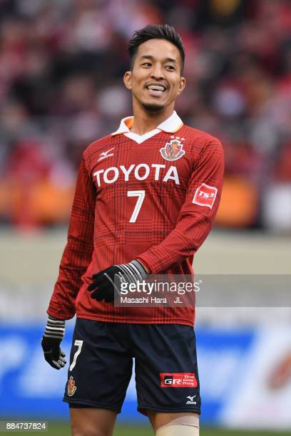 Taishi Taguchi of Nagoya Grampus reacts during the J.League J1 Promotion Play-Off Final between Nagoya Grampus and Avispa Fukuoka at Toyota Stadium...