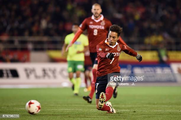 Taishi Taguchi of Nagoya Grampus scores his side's first goal during the JLeague J1 Promotion PlayOff semi final match between Nagoya Grampus and JEF...