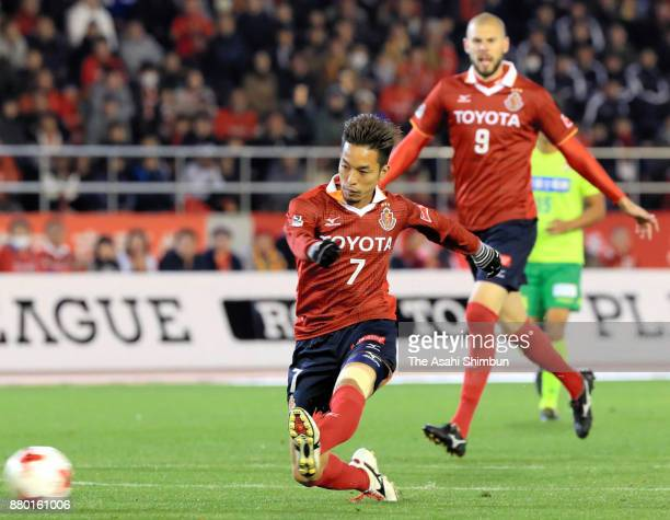 Taishi Taguchi of Nagoya Grampus scores his side's first goal to make it 11 during the JLeague J1 Promotion PlayOff semi final match between Nagoya...