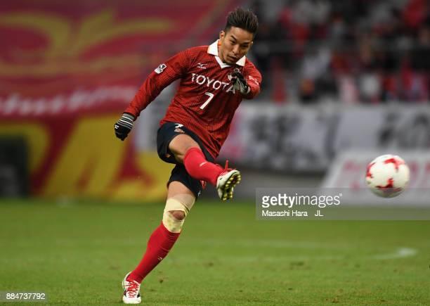 Taishi Taguchi of Nagoya Grampus shoots at goal during the J.League J1 Promotion Play-Off Final between Nagoya Grampus and Avispa Fukuoka at Toyota...