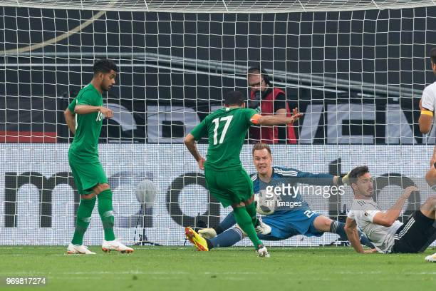 Taisir AlJassim of Saudi Arabia scores the team`s first goal during the international friendly match between Germany and Saudi Arabia at BayArena on...