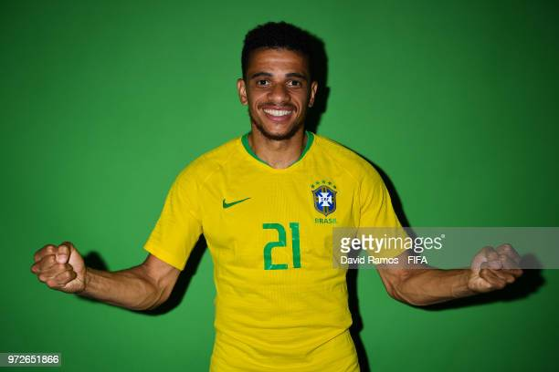 Taison Barcellos of Brazil poses during the official FIFA World Cup 2018 portrait session at the Brazil Team Camp on June 12 2018 in Sochi Russia