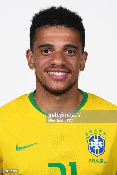 Taison of Brazil poses for a portrait during the official FIFA World Cup 2018 portrait session at the Brazil Team Camp on June 12 2018 in Sochi Russia