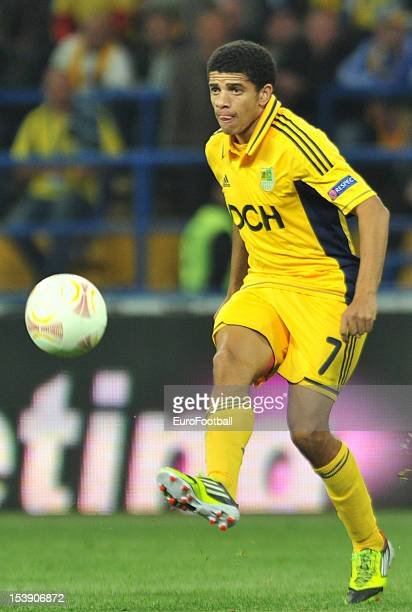 Taison of FC Metalist Kharkiv in action during the UEFA Europa League group stage match between FC Metalist Kharkiv and SK Rapid Wien held on October...