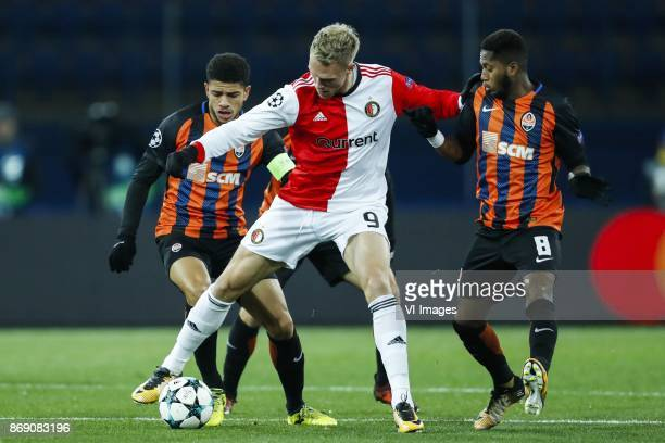 Taison of FC Shakhtar Donetsk Nicolai Jorgensen of Feyenoord Fred of FC Shakhtar Donetsk during the UEFA Champions League group F match between...