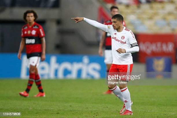 Taison of Internacional celebrates after scoring the third goal of his team during a match between Flamengo and Internacional as part of Brasileirao...