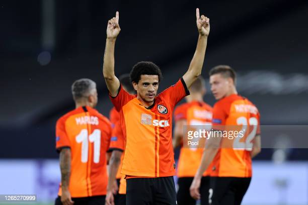 Taison of Shakhtar Donetsk celebrates after scoring his sides second goal during the UEFA Europa League Quarter Final between Shakhtar Donetsk and FC...