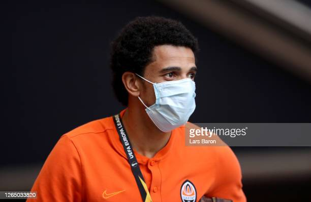 Taison of Shakhtar Donetsk during a training session ahead of their UEFA Europa League Quarter Final match against FC Basel at Veltins-Arena on...