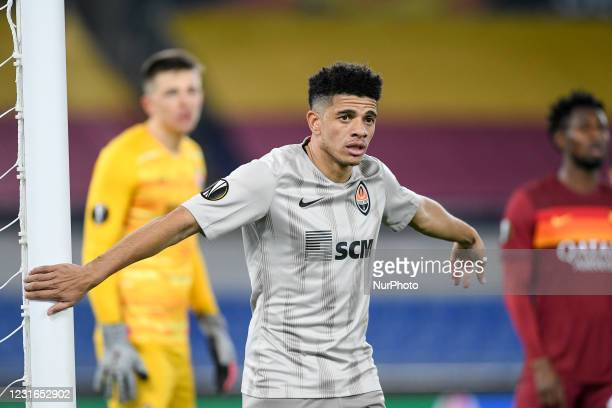Taison of Shakhtar Donetsk gestures during the UEFA Europa League Round of 16 match between AS Roma and Shakhtar Donetsk at Stadio Olimpico, Rome,...