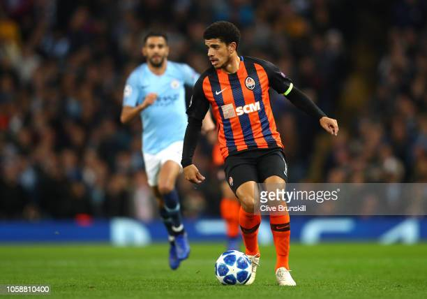 Taison of Shakhtar Donetsk in action during the Group F match of the UEFA Champions League between Manchester City and FC Shakhtar Donetsk at Etihad...