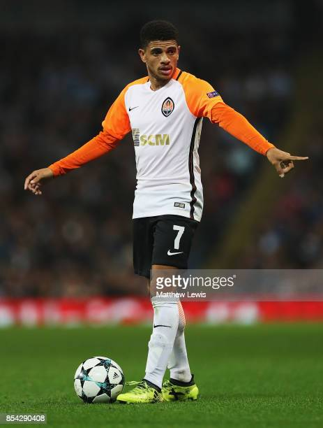 Taison of Shakhtar Donetsk in action during the UEFA Champions League group F match between Manchester City and Shakhtar Donetsk at Etihad Stadium on...